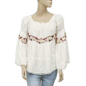 Free People Embroidered Off-the-Shoulder Top XS